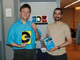 Albert Masó y yo en la presentación de los tres primeros libros de la colección. (junio de 2005) Foto: Berta Obiols.