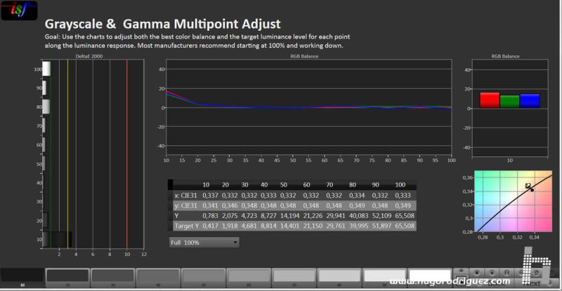 La curva de gamma (o curva de grises), casi perfecta.