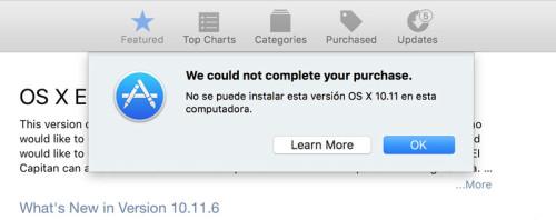 OS X El capitan en app store 01 no se puede