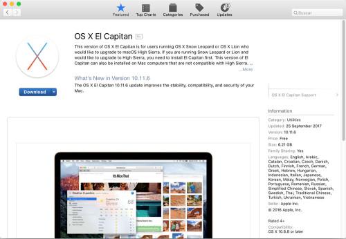 OS X El capitan en app store 02