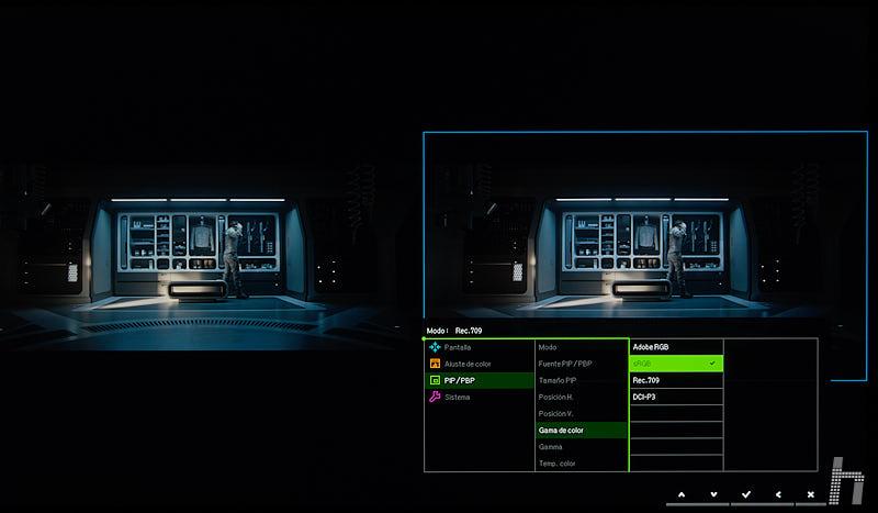 BenQ SW271 menu ESP 125 Rec 709 vs sRGB