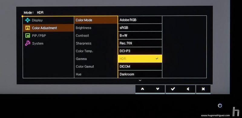 BenQ SW271 menus ENG 022 HDR