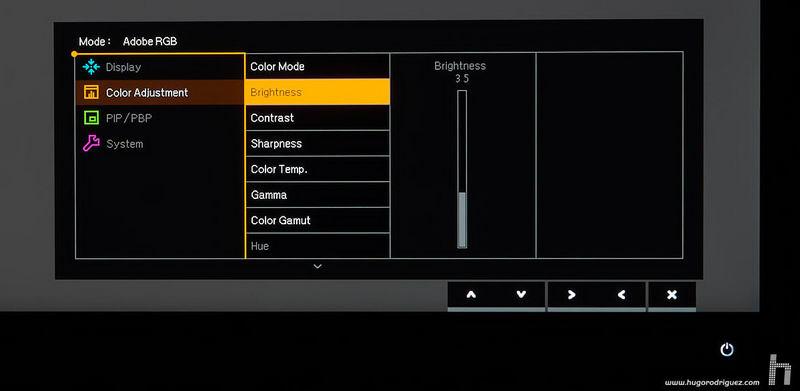BenQ SW271 menus ENG 027 brightness