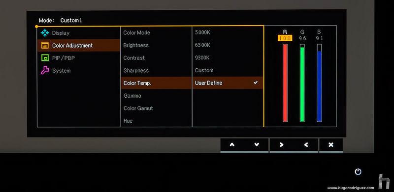 BenQ SW271 menus ENG 041 colortemp rgb