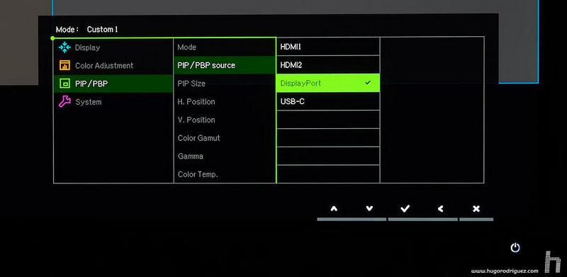 BenQ SW271 menus ENG 070 pip source