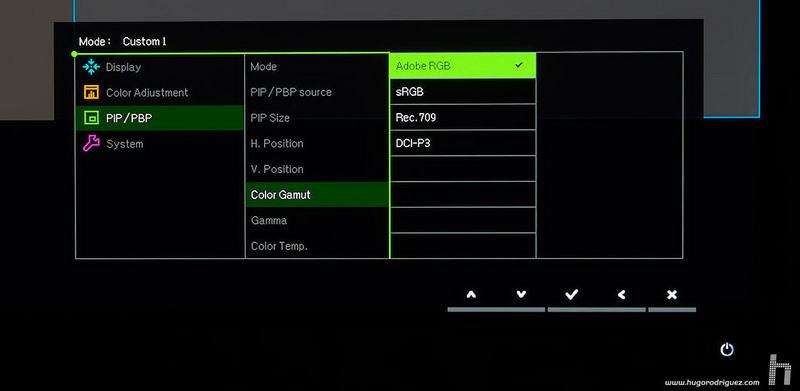 BenQ SW271 menus ENG 072 pip gamut