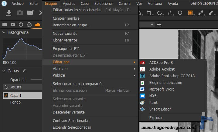 Interfaz CaptureOne 12 - Editar con plugin